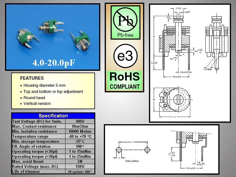 Trimmer kondenzátor, fólia, 5.6mm 4-20pF 150V C-FT5/4-20