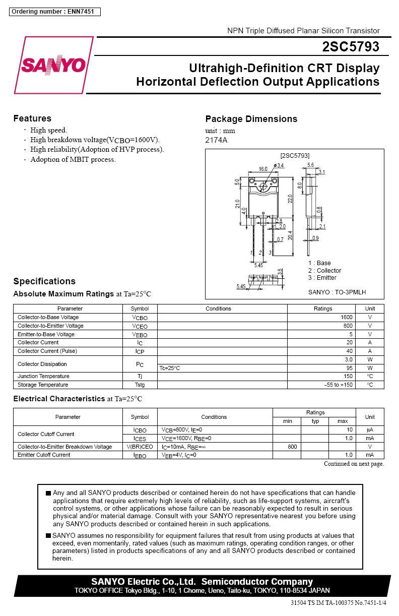 Tranzisztor NPN 1600/800V 20A(40App) 95W tf.0.2uS 2SC5793 2SC5793