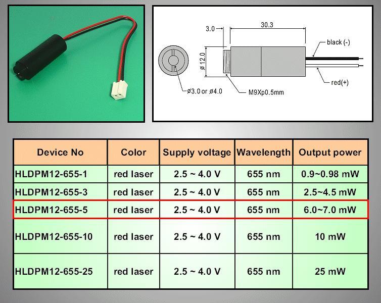 LASER MODUL 5mW 655nm 4VDC LE M0005-655