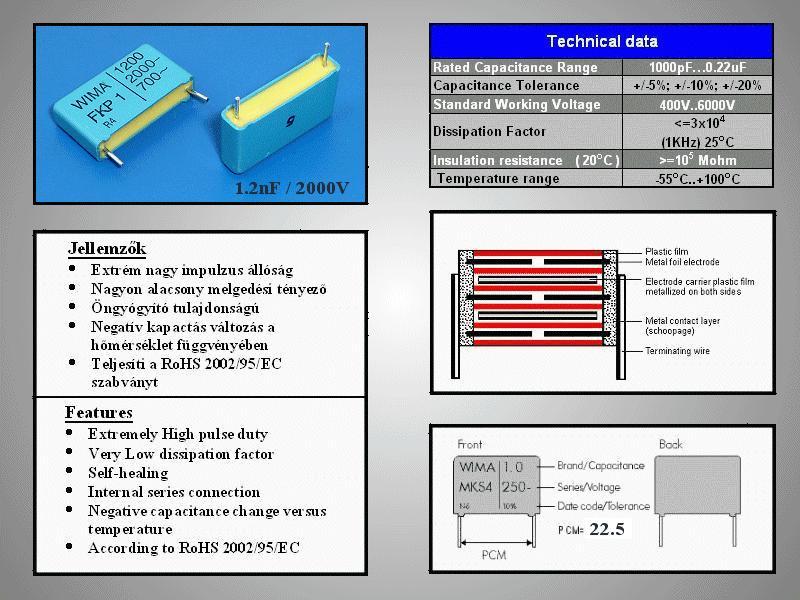 Kondenzátor 1.2nF 2000V Polypropilén RM-22,5 C 1N2 2000/MKP