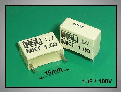 Kondenzátor 1uF 100V Polyester C 1U0 100/MKT5