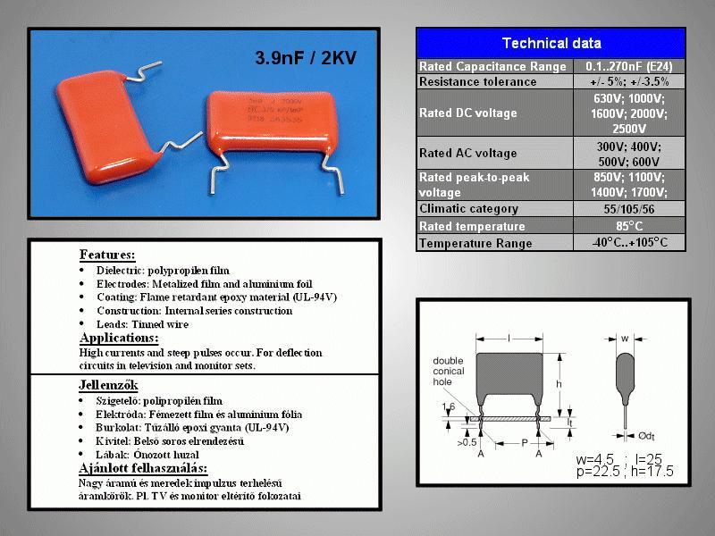 Kondenzátor 3.9nF DC2000V AC700V Polyprop C 3N9 2000/MKP