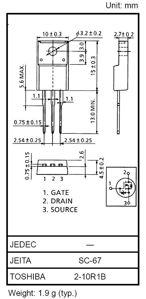 Tranzisztor N-MOSFET+Z 600V 10A IDp:40A 45W 0.54R Sw-Reg. 2SK3569 2SK3569 -