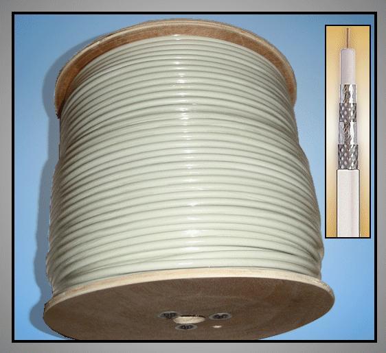 KOAX Kábel RG 6U/WH 75R 7mm fehér (3 x árnyékolás) CCS COAX-004/3