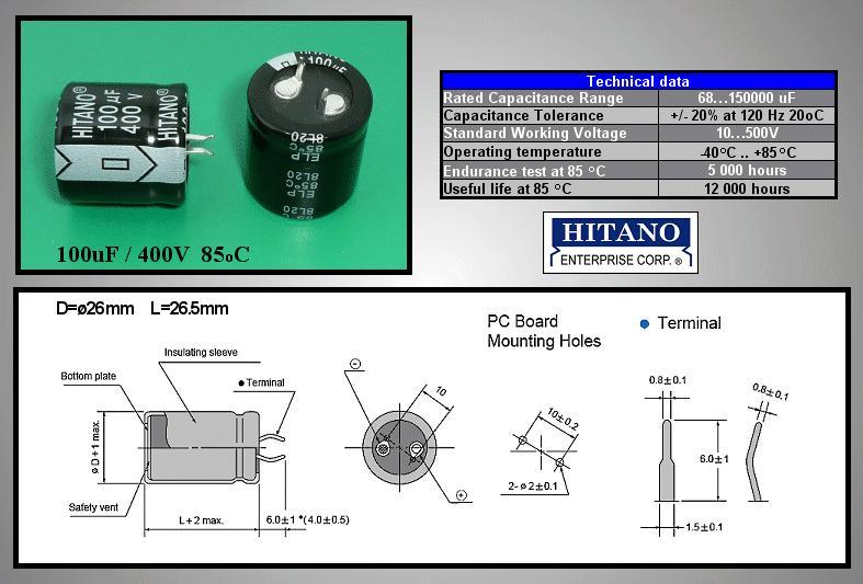 ELKO 100uF 400V 85°C 25x25 Snap-in 100/400P 25x25 H -