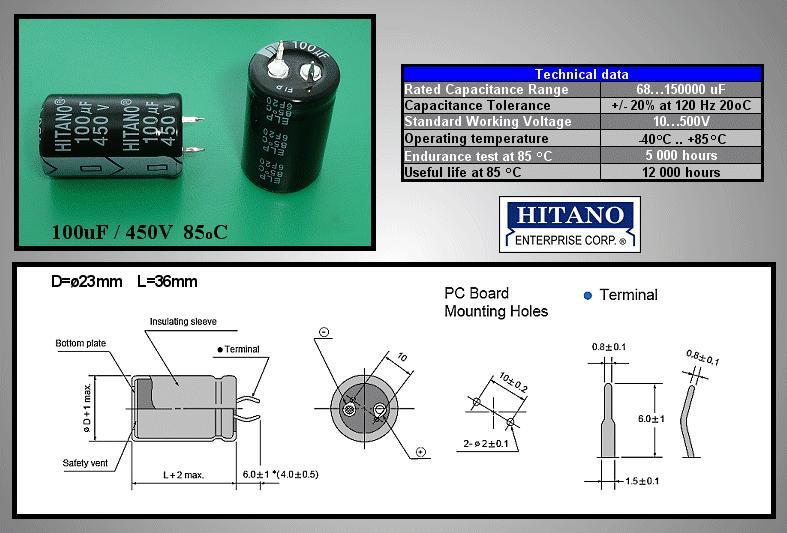 ELKO 100uF 450V 85°C 25x30 Snap-in 100/450P H -