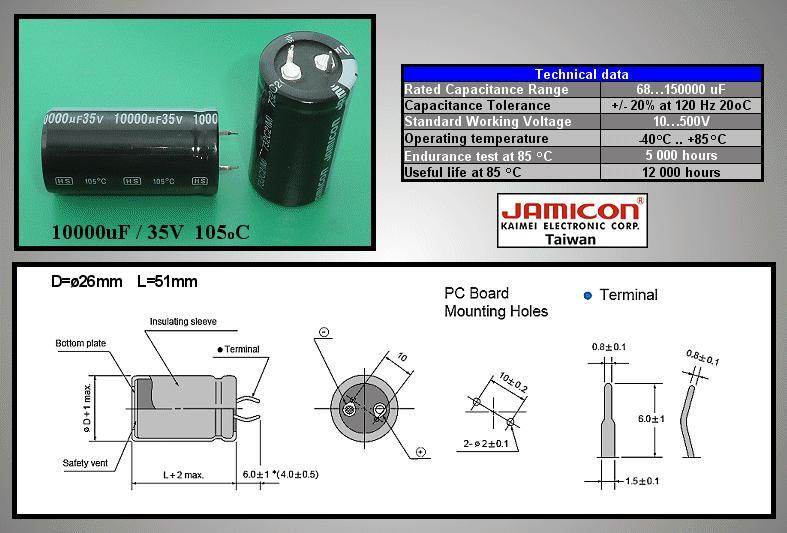 ELKO 10000uF 35V 105°C 25x45 Snap-in 10000/35P-105 X