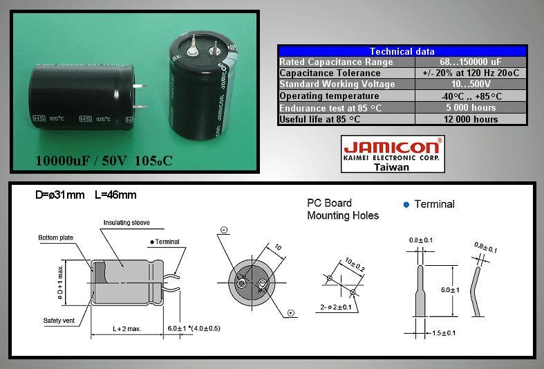 ELKO 10000uF 50V 105°C 30x45 Snap-In 10000/50P-105 X