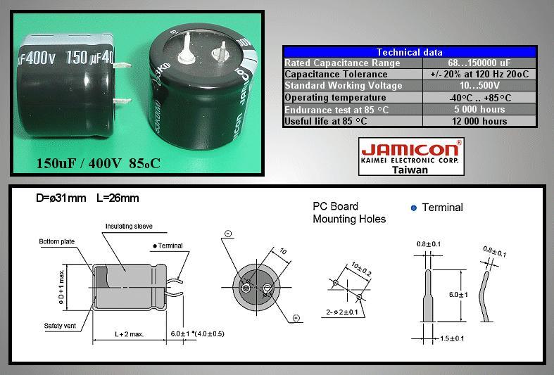 ELKO 150uF 400V 85°C 30x25 Snap-in 150/400P 30X25