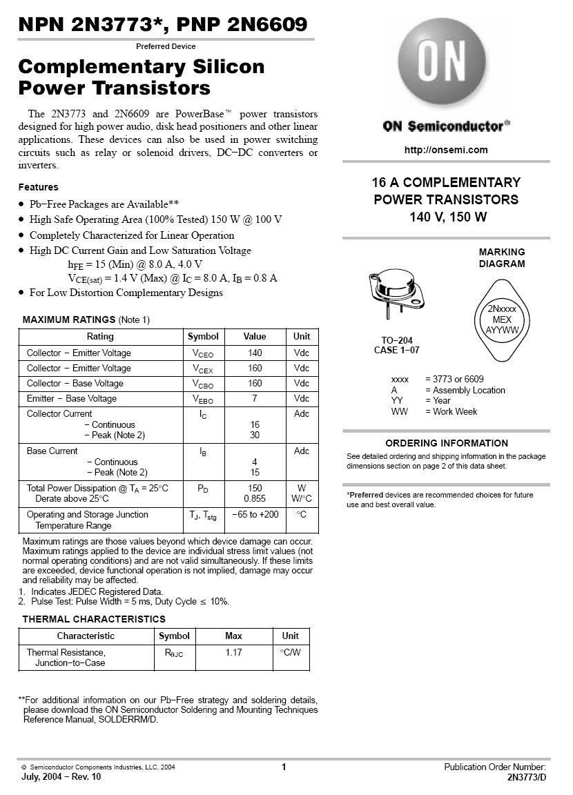 SI-N 140/160V 16A/30Ap 150W 0.2MHz 2N3773-ONS -
