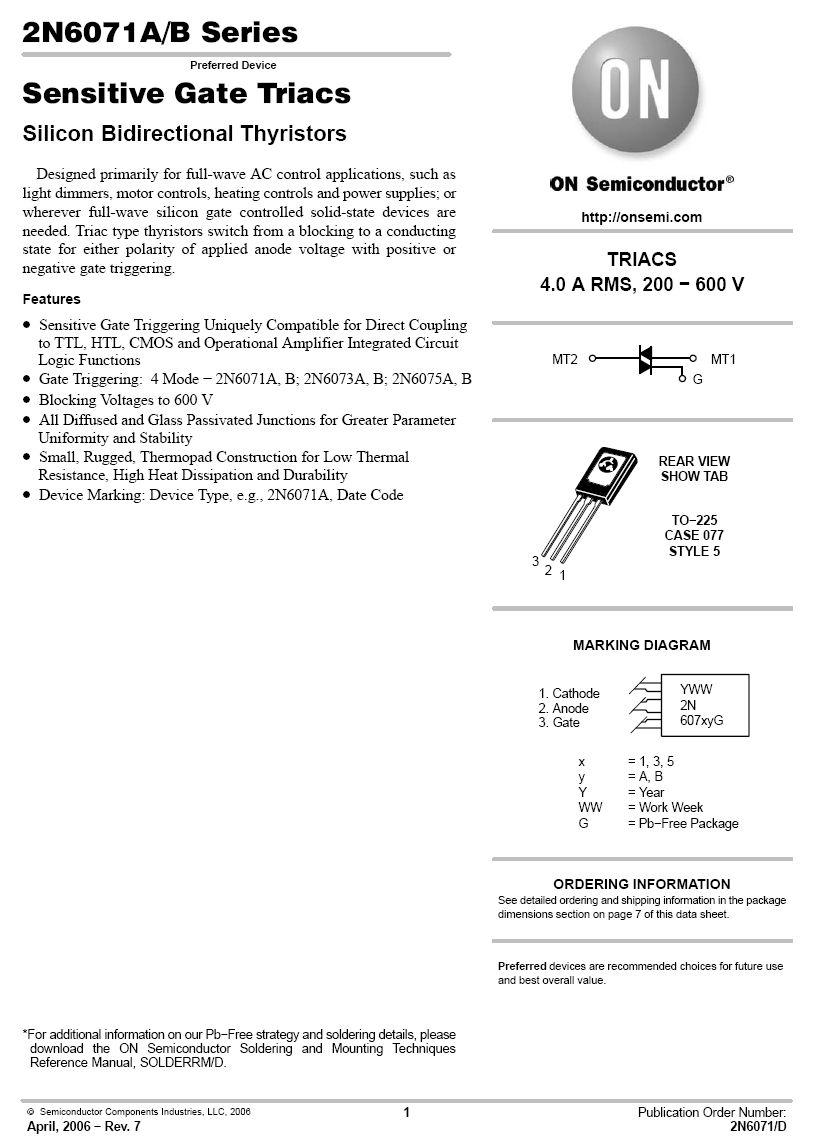 TRIAC 600V 4A/30Ap Igt/Ih<10/15mA(+25°C) 2N6075A