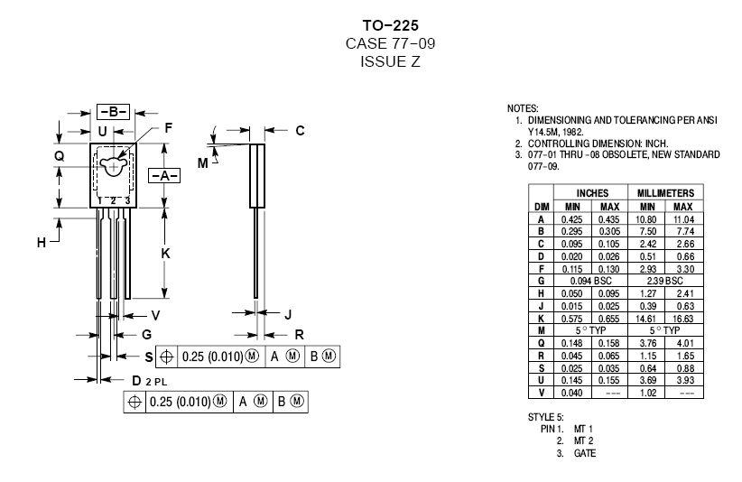 TRIAC 600V 4A/30Ap Igt/Ih<5/15mA(+25°C) 2N6075B -