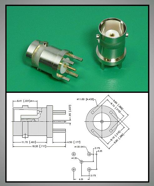 BNC aljzat panelbe forrrasztható ( függőleges) BNC-026