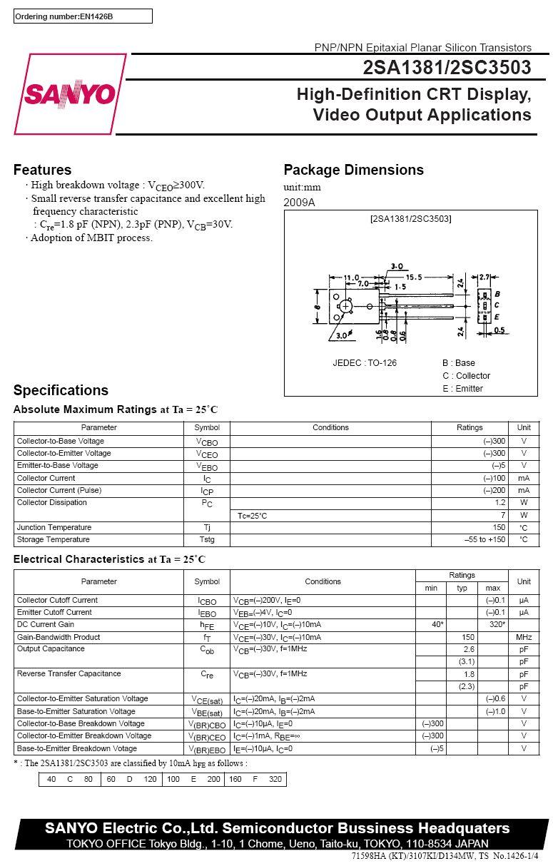 SI-N 300V 100mA 7W 150MHz VID-L 2SC3503
