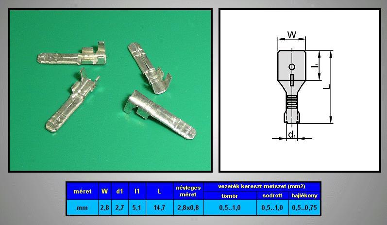 Kábelsaru 2.8/0.8 dugó 0.5-1.0mm2 CS-K1280811/SN
