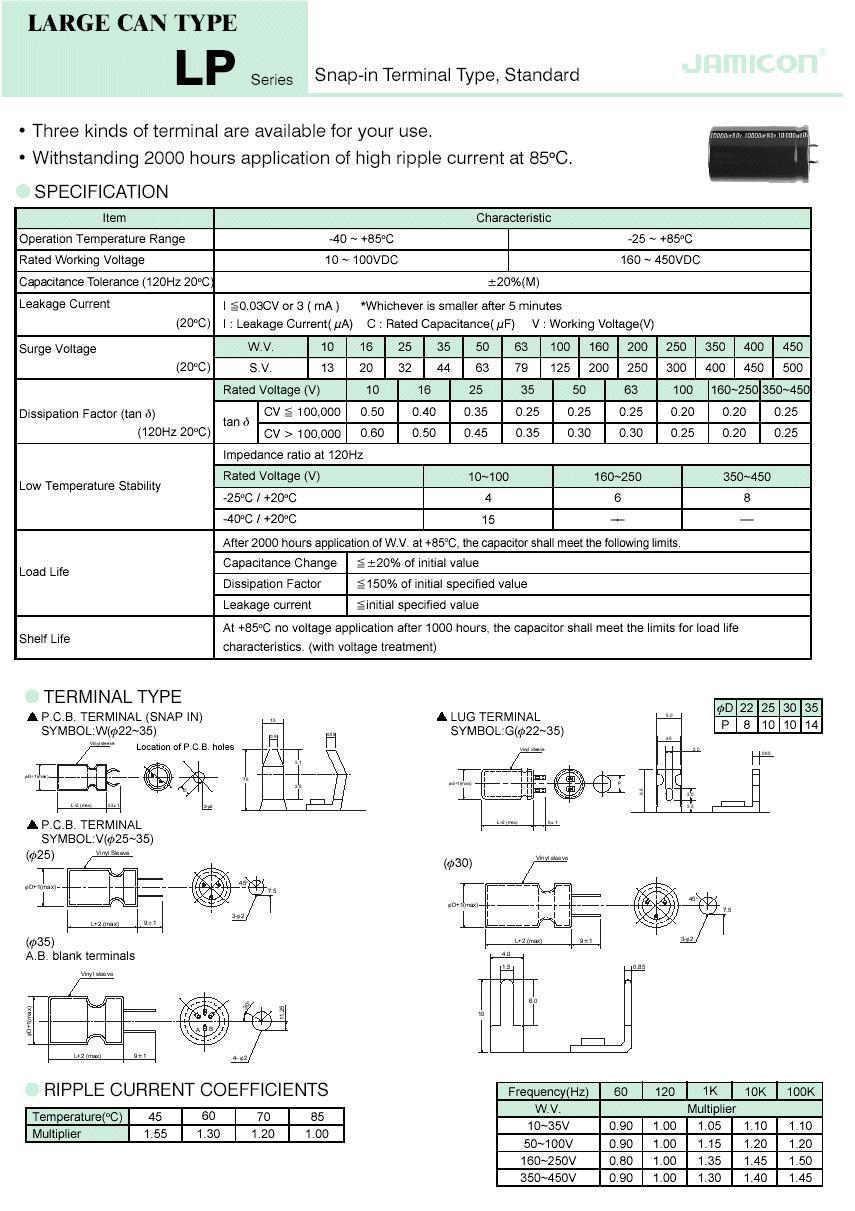 ELKO 47uF 450V 85°C 22x25 Snap-in 47/450P 22X25
