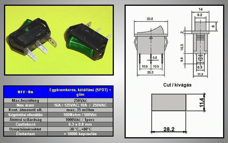Billenő zöld világító 1 áramkörös ON-OFF 10A...16A SW2101/G