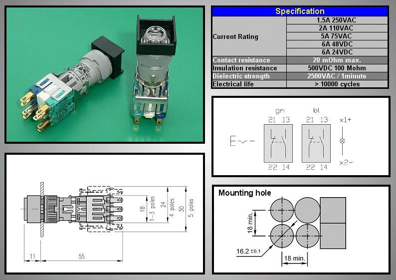 Kapcsoló UP/DOWN 2x4p. 250V 6A +2p. lámpa foglalat SW11100