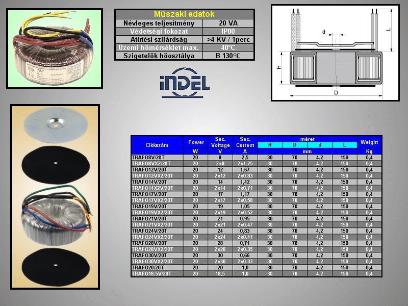 TRAFO 230VAC / 12VAC 1.67A 20W TRAFO12V/20T -