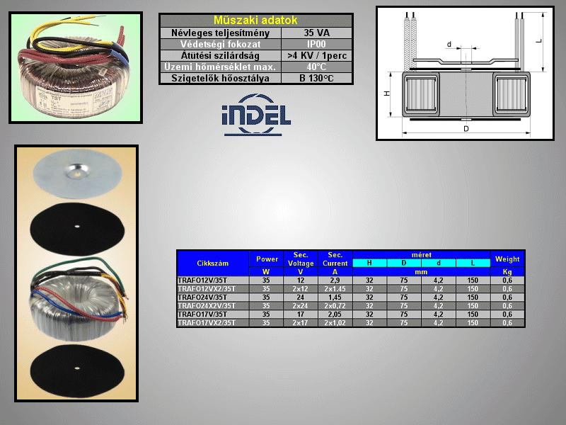 TRAFO 230VAC / 12VAC 2.9A 35W TRAFO12V/35T -