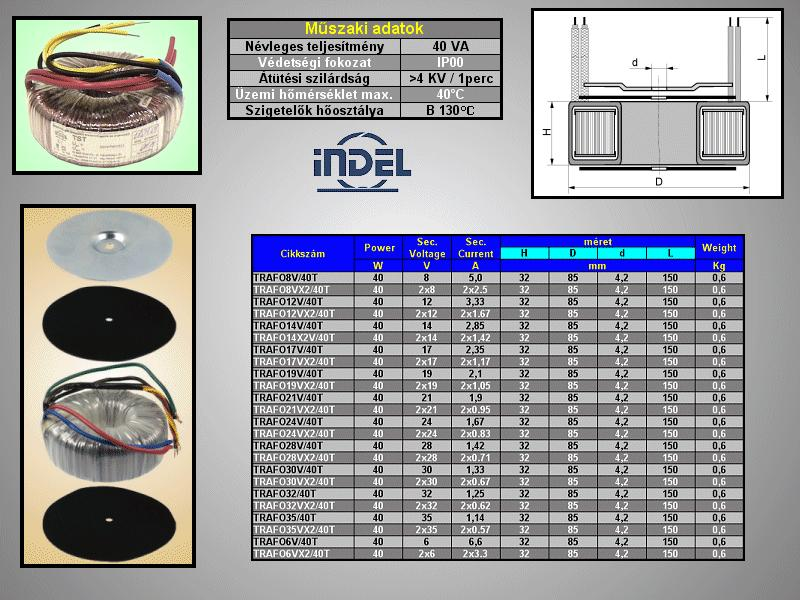 TRAFO 230VAC/2x12VAC 2x1,67A 40W TRAFO12VX2/40T