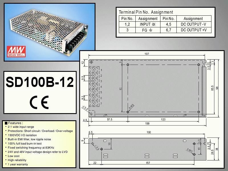 SMPS tápegység 19...36VDC 100W +12VDC 8.5A P.SUP.SD100B12