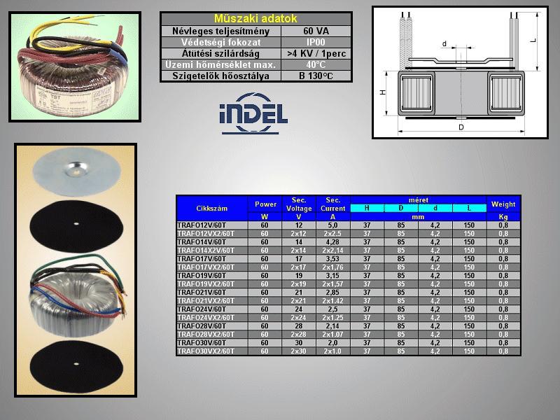 TRAFO 230VAC 2x12VAC 2x2.5A 60W TRAFO12VX2/60T