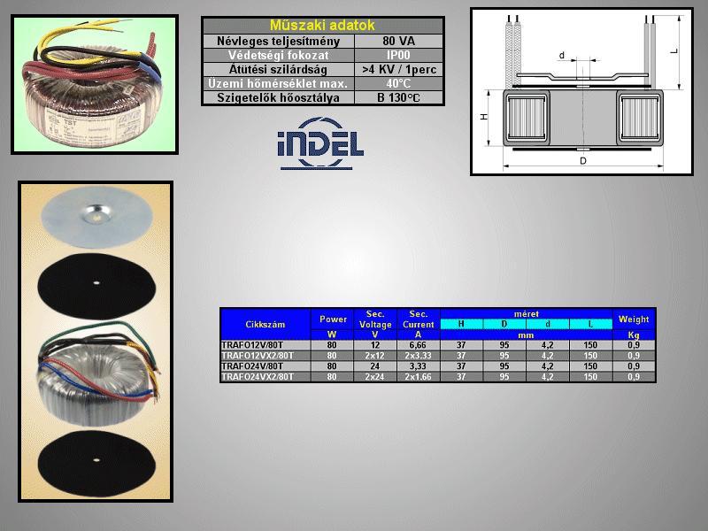 TRAFO 230VAC / 2x12VAC 2x3.33A 80W TRAFO12VX2/80T