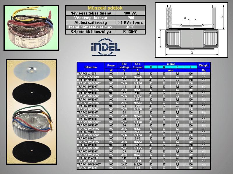 TRAFO 230VAC / 12VAC 8,33A 100VA TRAFO12V/100T -