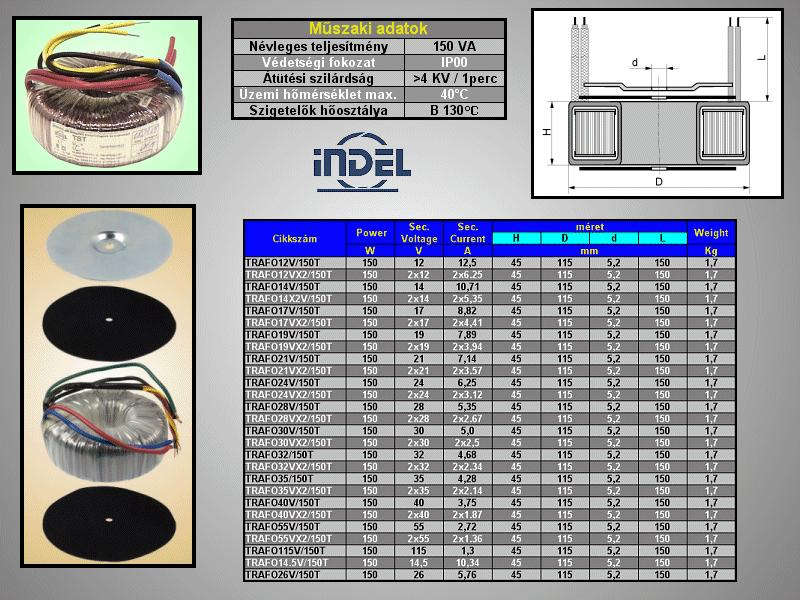 TRAFO 230VAC / 14VAC 10,71A 150W TRAFO14V/150T