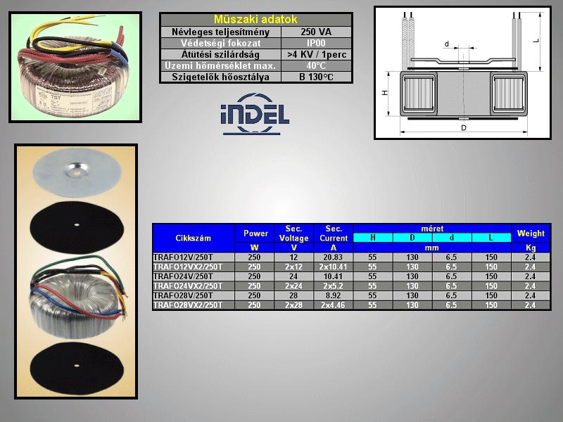 TRAFO 230VAC / 12VAC 20,83A 250W TRAFO12V/250T -