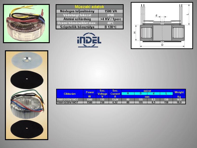 TRAFO 230VAC / 115VAC 13,04A 1500VA TRAFO115V/1K5T