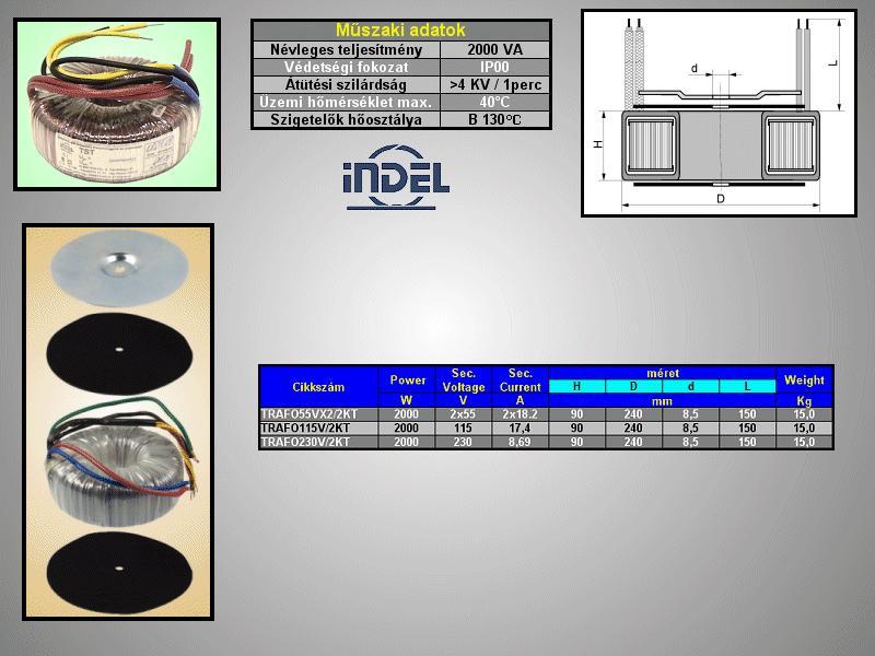 TRAFO 230VAC / 115VAC 17,4A 2000VA TRAFO115V/2KT