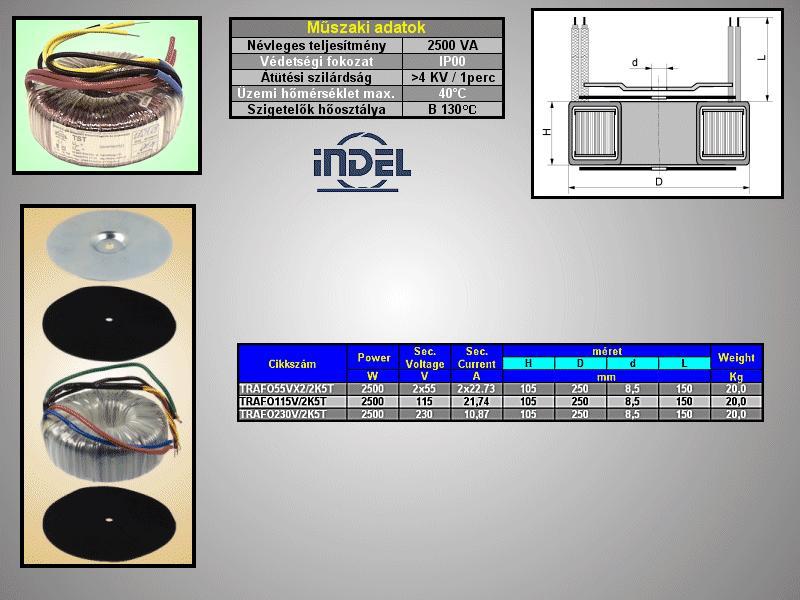 TRAFO 230VAC / 115VAC 21,74A 2500VA TRAFO115V/2K5T