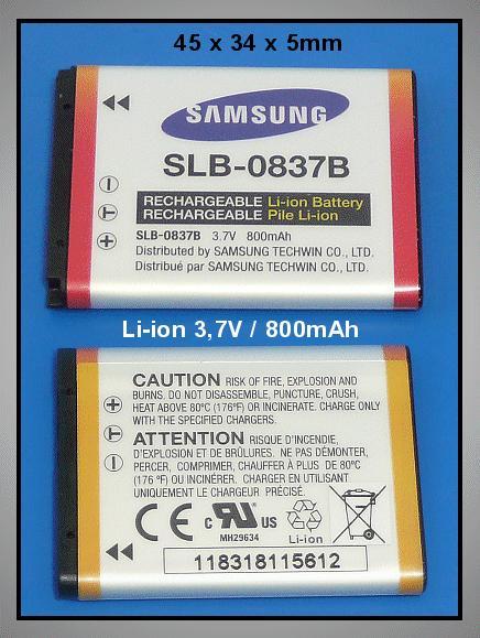 Li-Ion 3.7V 800mAh akkumulátor SLB-0837B ACCU FOT-052