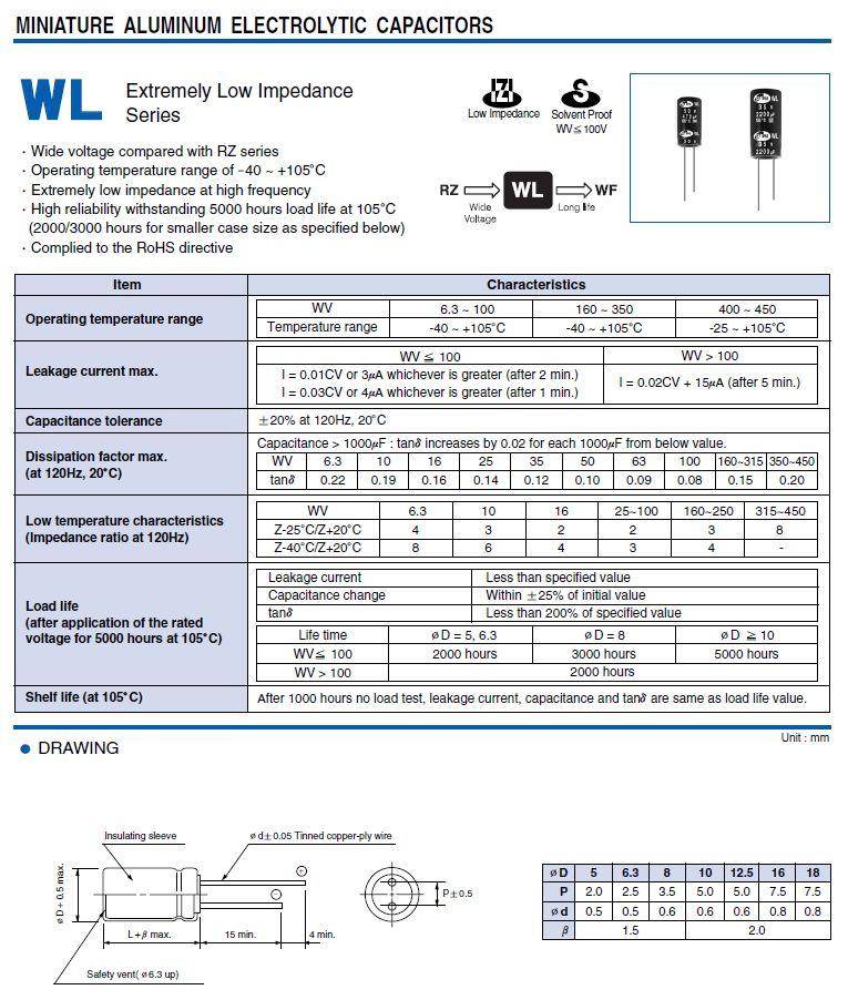 ELKO 1000uF 35V 105°C 10x30 Low-ESR WL 1000/35P-105ESR S1