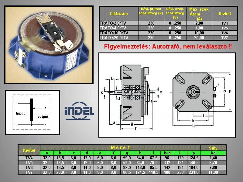 Állítható Toroid trafó 230V / 0-250V 10.0A 2,3kW TRAFO/10.0/TV