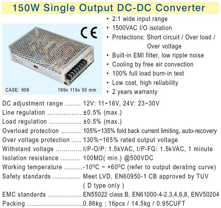 SMPS tápegység 19...36VDC 150W +12VDC 12.5A P.SUP.SD150B12