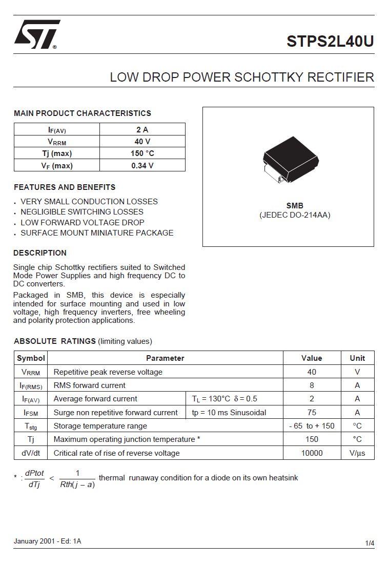 SB-D SMD SCHOTTKY 40V 2A/75Ap STPS2L40U