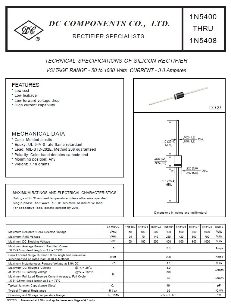 SI-D 400V 3A/200Ap <5uS 1N5404 -