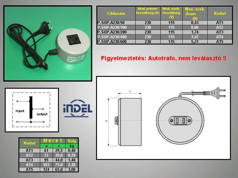 230VAC -> 115VAC 600VA adapter P.SUP.A230/600