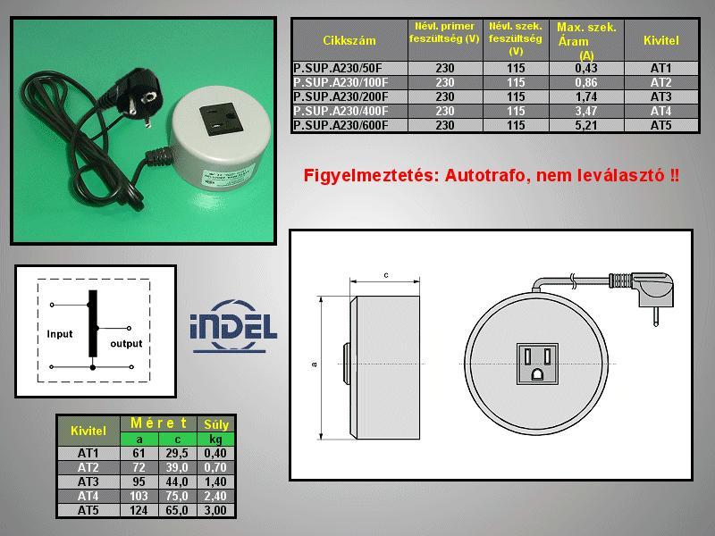 230VAC -> 115VAC 400VA adapter (földelt) P.SUP.A230/400F