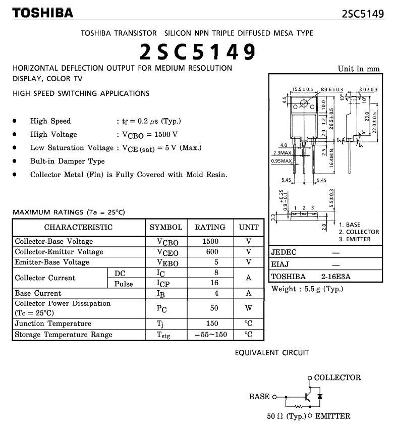 Tranzisztor NPN+DR 1500/600V 8A/16Ap. 50W 0.2uS 2SC5149 2SC5149 -