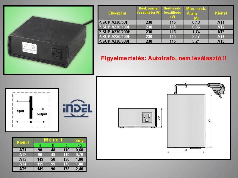 230VAC -> 115VAC 200VA adapter (földelt) P.SUP.A230/200H