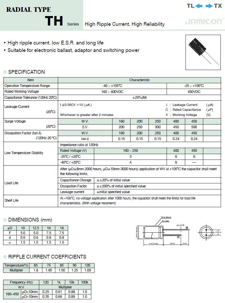 ELKO 100uF 400V 105°C 18x32 Low-ESR álló 100/400P-105ESR