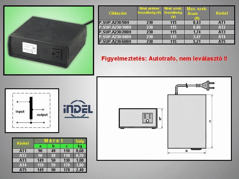 230VAC -> 115VAC 100VA adapter (földelt) P.SUP.A230/100H
