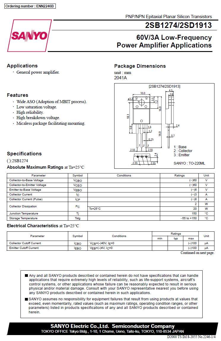 Tranzisztor NPN 60V 3A 20W 100MHz NF/L 2SD1913 2SD1913 -