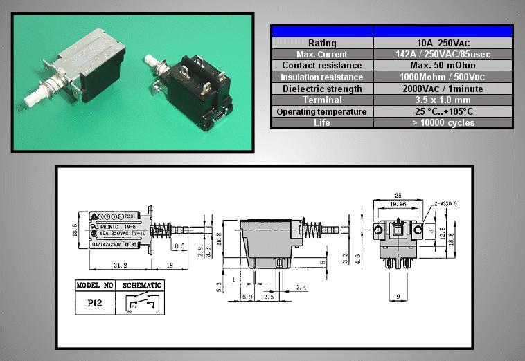 Hálózati főkapcsoló: 10A 250VAC TV-8 SW0462