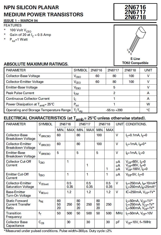 Tranzisztor NPN 100V 1A 1W >50MHz TO-92 2N6718L 2N6718L -