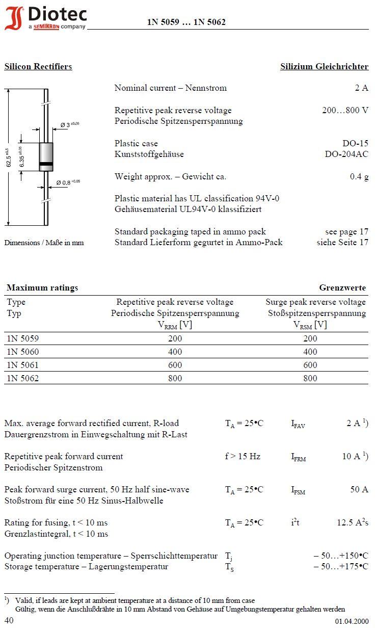 SI-D 400V 2A (Peak: 50A, 50Hz) 1N5060 -